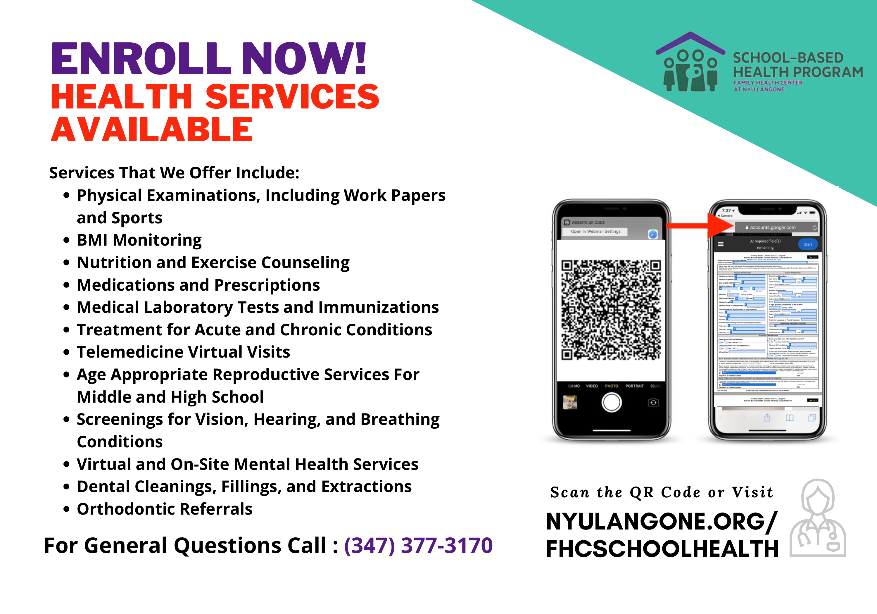 All Services School Based Health NYU FLYER for Social Page 4 14X20 Poster Size